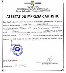 Atestat de impresar artistic Marian Tiberius