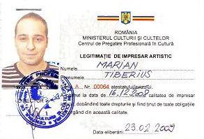 Legitimatie impresar artistic Marian Tiberius